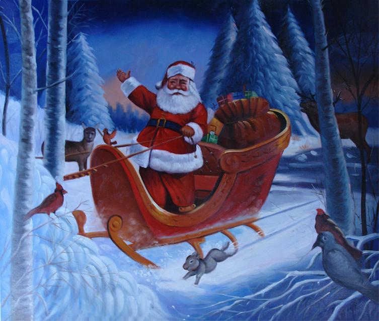 Handmade museum quality christmas oil paintings